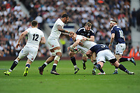 Mike Brown of England looks to offload in the tackle to Owen Farrell of England during the RBS 6 Nations match between England and Scotland at Twickenham Stadium on Saturday 11th March 2017 (Photo by Rob Munro/Stewart Communications)