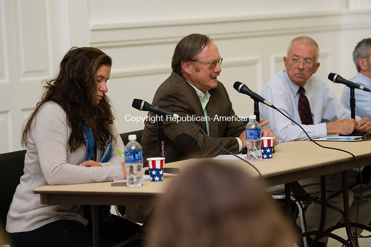 WASHINGTON, CT- 22 October 2015-102215EC10-  Republican Mark Lyon speaks to residents gathered at Bryan Memorial Town Hall. Debbie Forese, on the left, is an unaffiliated candidate challenging the incumbent. Lyon is seeking a fifth term as first selectman. Erin Covey Republican-American