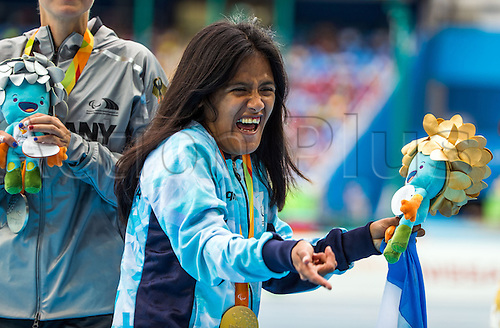 09.09.2016. Rio de Janeiro, Brazil.  Yanina Andrea Martinez of Argentina celebrates her gold medal in the Women`s 100m -T36 - final during the Rio 2016 Paralympic Games, Rio de Janeiro, Brazil, 09 September 2016.