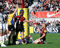 Jackson Wray of Saracens celebrates scoring a try with Rhys Gill of Saracens during the Aviva Premiership match between Saracens and Worcester Warriors at Allianz Park on Saturday 3rd May 2014 (Photo by Rob Munro)