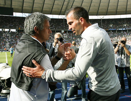 27 07 2011 Madrid  team manager Jose Mourinho and  team manager Markus Babbel  shake hands. Hertha BSC Berlin versus Real Madrid friendly match
