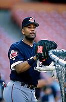 Sandy Alomar,jr. of the Cleveland Indians at Anaheim Stadium in Anaheim,California during the 1996 season. (Larry Goren/Four Seam Images)