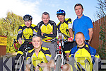 Currow cyclists pictured at the Castleisland Day Care Centre on Sunday were front l-r: Marcus Cronin and Steve Key. Back l-r: Darragh Looney, Paudie McCarthy, Pat Brosnan and Diarmuid Brosnan.