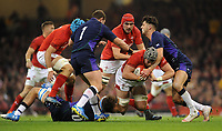 Wales' Dan Lydiate is tackled by Scotland's Jamie Ritchie<br /> <br /> Photographer Ian Cook/CameraSport<br /> <br /> Under Armour Series Autumn Internationals - Wales v Scotland - Saturday 3rd November 2018 - Principality Stadium - Cardiff<br /> <br /> World Copyright &copy; 2018 CameraSport. All rights reserved. 43 Linden Ave. Countesthorpe. Leicester. England. LE8 5PG - Tel: +44 (0) 116 277 4147 - admin@camerasport.com - www.camerasport.com