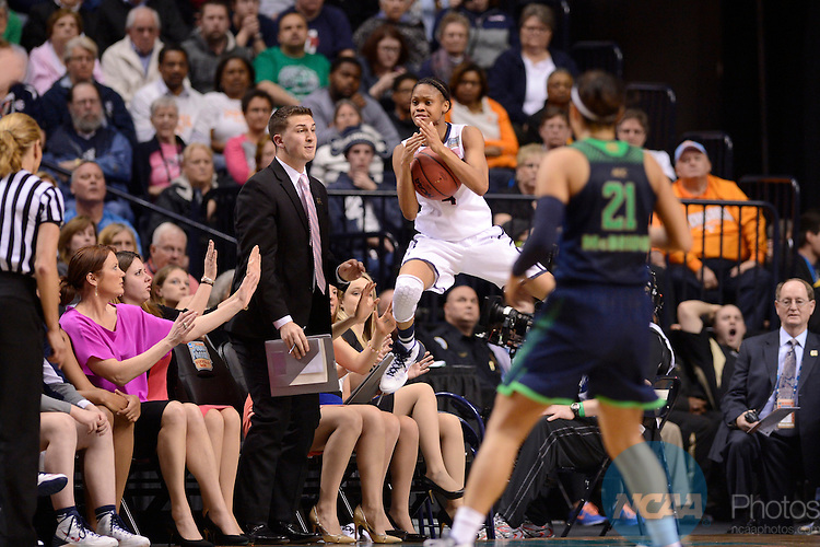 08 APR 2014:  Moriah Jefferson (04) of the University of Connecticut calls a timeout as she is flying out of bounds against Notre Dame University during the Division I Women's Basketball Championship held at Bridgestone Arena in Nashville, TN.  Connecticut defeated Notre Dame 78-63 for the national title.  Jamie Schwaberow/NCAA Photos