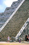 Steps on the ruins of 'El Castillo' pyramid in the Mayan city of Chichen Itza in the Yucatan, Mexico