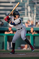 Lake Elsinore Storm catcher Luis Torrens (3) at bat during a California League game against the Modesto Nuts at John Thurman Field on May 11, 2018 in Modesto, California. Modesto defeated Lake Elsinore 3-1. (Zachary Lucy/Four Seam Images)