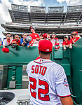 20 May 2018: Washington Nationals outfielder Juan Soto signs fan autographs in prior to his first Major League appearance against the Los Angeles Dodgers at Nationals Park in Washington, DC. The Dodgers defeated the Nationals 7-2, sweeping their 3-game series. Mandatory Credit: Ed Wolfstein Photo *** RAW (NEF) Image File Available ***