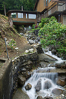Stream running by house in Deep Cove,Vancouver, British Columbia, Canada.