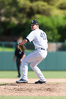 Glendale Desert Dogs relief pitcher Hobie Harris (41), of the New York Yankees organization, delivers a pitch during an Arizona Fall League game against the Scottsdale Scorpions at Camelback Ranch on October 16, 2018 in Glendale, Arizona. Scottsdale defeated Glendale 6-1. (Zachary Lucy/Four Seam Images)