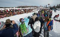 Scott Janssen leaves the Willow Lake start line at the 2013 Iditarod restart on Sunday, March 3. (Stephen Nowers photo)
