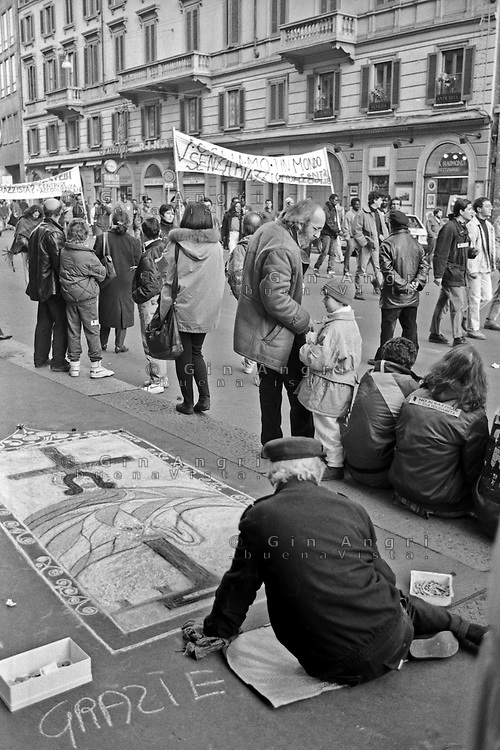 manifestazione antirazzista Milano Gennaio 1992