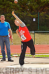 Michael Linnane Rock Street, in the finals of the Boys u-14 shot putt at the Kerry community games athlethics finals at an Riocht, Castleisland on Sunday.