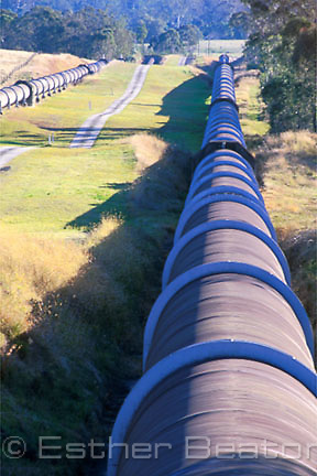 Pipes carrying water from Warragamba Dam to Sydney, on Silverdale Rd, Mulgoa, western Sydney