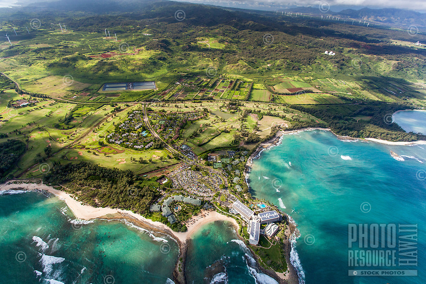 A helicopter tour offers an aerial view of Turtle Bay Resort and Kuilima Estates, North Shore, O'ahu.