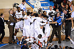 07 APR 2014: The University of Connecticut team celebrates their win over University of Kentucky in the closing moments during the 2014 NCAA Men's DI Basketball Final Four Championship at AT&T Stadium in Arlington, TX.  Connecticut defeated Kentucky 60-54 to win the national title. Brett Wilhelm/NCAA Photos