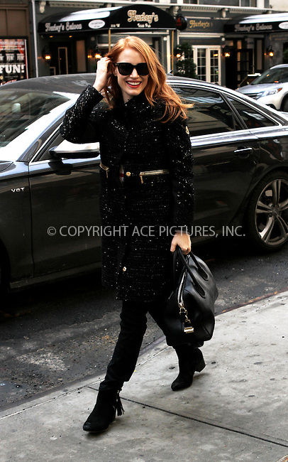 WWW.ACEPIXS.COM....February 3 2013, New York city....Actress Jessica Chastain arriving at the Walter Kerr Theatre for a performance of 'The Heiress' on February 3 2013 in New York City....By Line: Nancy Rivera/ACE Pictures......ACE Pictures, Inc...tel: 646 769 0430..Email: info@acepixs.com..www.acepixs.com