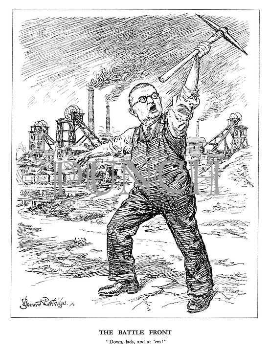 """The Battle Front. """"Down, lads, and at 'em!"""" (Ernest Bevin calls for more coal production by recruiting his Bevin Boys)"""