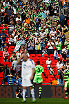 Tranmere Rovers 1 Forest Green Rovers 3, 14/05/2017. Wembley Stadium, Conference play off Final. Forest Green fans celebrate their teams third goal, during the Vanarama Conference play off Final  between Tranmere Rovers v Forest Green Rovers at the Wembley. Photo by Paul Thompson.