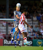Lincoln City's Cian Bolger vies for possession with Stoke City's Tyrese Campbell<br /> <br /> Photographer Chris Vaughan/CameraSport<br /> <br /> Football Pre-Season Friendly - Lincoln City v Stoke City - Wednesday July 24th 2019 - Sincil Bank - Lincoln<br /> <br /> World Copyright © 2019 CameraSport. All rights reserved. 43 Linden Ave. Countesthorpe. Leicester. England. LE8 5PG - Tel: +44 (0) 116 277 4147 - admin@camerasport.com - www.camerasport.com