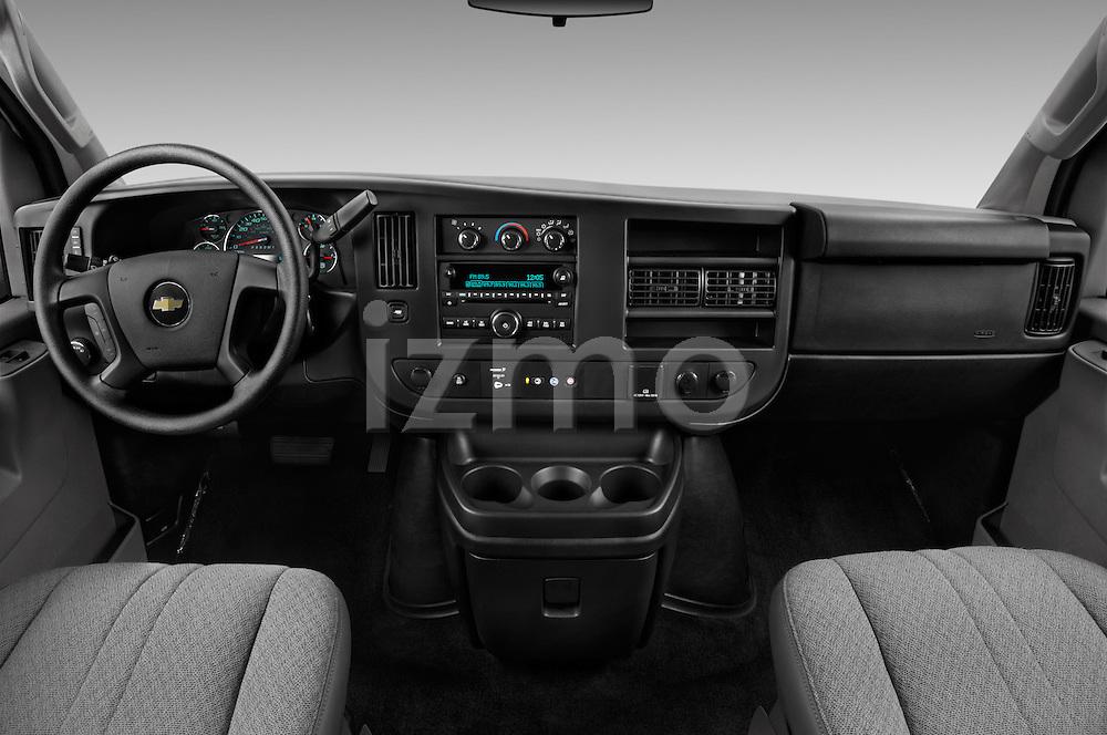 Stock photo of straight dashboard view of 2016 Chevrolet Express 3500-LS 4 Door Passenger Van Dashboard
