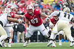 Wisconsin Badgers offensive lineman Jon Dietzen (67) during an NCAA College Big Ten Conference football game against the Purdue Boilermakers Saturday, October 14, 2017, in Madison, Wis. The Badgers won 17-9. (Photo by David Stluka)