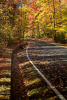 Hot Springs Mountain road during fall, Hot Springs National Park  leads to the Hot Springs Mountain Tower.