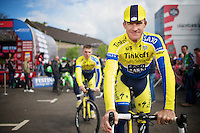 Michael Rogers (AUS/Tinkoff-Saxo) at the start podium<br /> <br /> Giro d'Italia 2014<br /> stage 3: Armagh (NI) - Dublin (IRL) 187km