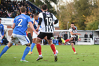 Nathan Arnold of Grimsby Town shoots at goa during the Vanarama National League match between Eastleigh and Grimsby Town at The Silverlake Stadium, Eastleigh, Hampshire on Nov 21, 2015. (Photo: Paul Paxford/PRiME)