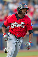 Frisco RoughRiders shortstop Hanser Alberto heads to first base during the Texas League game against the Tulsa Drillers at ONEOK field on August 15, 2014 in Tulsa, Oklahoma  The RoughRiders defeated the Drillers 8-2.  (William Purnell/Four Seam Images)