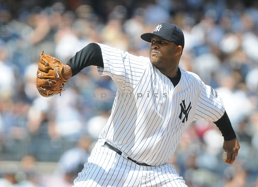 CC SABATHIA, of the New York Yankees  in action during the Yankees  game against the Los Angeles Angels on May 2, 2009 in New York, New York  The Angels  beat the Yankees 8-4...