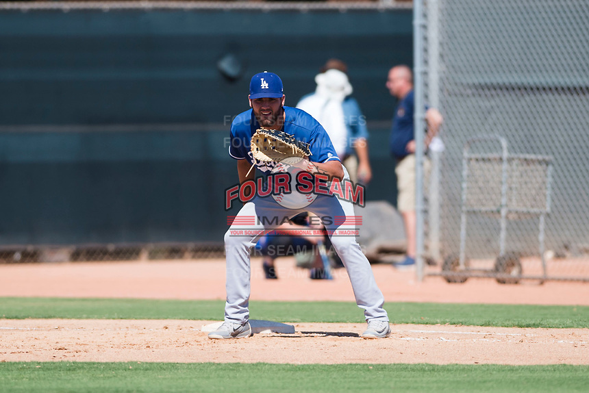 Los Angeles Dodgers first baseman Meaux Landry (33) during an Instructional League game against the Milwaukee Brewers at Maryvale Baseball Park on September 24, 2018 in Phoenix, Arizona. (Zachary Lucy/Four Seam Images)