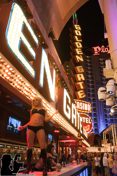 DJ Kay performs in front of the Golden Gate Casino on Fremont Street