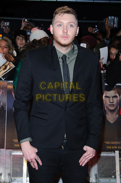 James Arthur.'The Twilight Saga: Breaking Dawn Part 2' European film premiere, Empire cinema, Leicester Square, London, England..14th November 2012.half length green stubble beard facial hair black blue grey gray shirt suit tie   .CAP/CJ.©Chris Joseph/Capital Pictures.