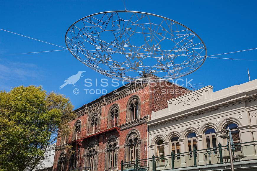 'Sky Lens' Sculpture by Neil Dawson in Cashel Mall Christchurch, (pre earthquakes), Canterbury, South Island, New Zealand - stock photo, canvas, fine art print