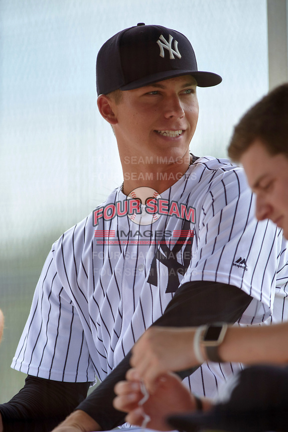 GCL Yankees West pitcher Glenn Otto (65) in the dugout during the second game of a doubleheader against the GCL Yankees East on July 19, 2017 at the Yankees Minor League Complex in Tampa, Florida.  GCL Yankees West defeated the GCL Yankees East 3-1.  (Mike Janes/Four Seam Images)