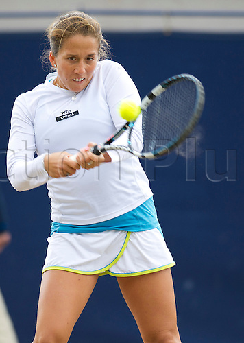 16.06.2012 Birmingham, England. Irina FALCONI (USA) in action during her quarterfinal match with Melanie OUDIN (USA) at the AEGON Classic at the Edgbaston Priory Club.