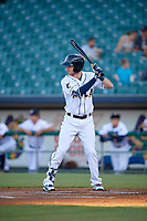 New Orleans Baby Cakes JT Riddle (17) at bat during a Pacific Coast League game against the Oklahoma City Dodgers on May 6, 2019 at Shrine on Airline in New Orleans, Louisiana.  New Orleans defeated Oklahoma City 4-0.  (Mike Janes/Four Seam Images)