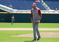 Jake Kelzer reacts to Indiana's 6-2 win over Nebraska, which eliminated the Huskers from the Big Ten Tournament at TD Ameritrade Park in Omaha, Neb. on May 26, 2016. (Photo by Michelle Bishop)