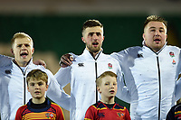 Arron Reed, Tom de Glanville and Joe Heyes of England U20 sing the national anthem. U20 Six Nations match, between England U20 and Scotland U20 on March 15, 2019 at Franklin's Gardens in Northampton, England. Photo by: Patrick Khachfe / JMP