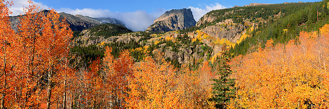 colorful fall aspen below Hallett Peak in Rocky Mountain National Park, Colorado, USA