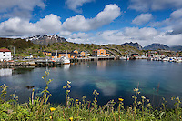 View over harbor towards Stamsund hostel, Stamsund, Vestvågøy, Lofoten Islands, Norway