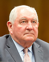"United States Secretary of Agriculture Sonny Perdue gives testimony before the US Senate Committee on Appropriations on ""the Presidentís Fiscal Year 2018 funding request and budget justification for the Department of Agriculture"" on Capitol Hill in Washington, DC on Tuesday, June 13, 2017. Photo Credit: Ron Sachs/CNP/AdMedia"