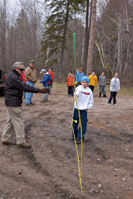 Elementary school students from Gwinn Michigan get a fly casting lesson as part of their Salmon in the Classroom studies.