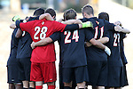 23 October 2015: Louisville's starters huddle before the game. The University of North Carolina Tar Heels hosted the University of Louisville Cardinals at Fetzer Field in Chapel Hill, NC in a 2015 NCAA Division I Men's Soccer match. UNC won the game 2-1.