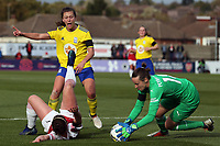 Charlie Wellings of Birmingham City Women  and Emma Mitchell of Arsenal Women during Arsenal Women vs Birmingham City Ladies, FA Women's Super League Football at Meadow Park on 4th November 2018