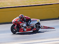 Oct 16, 2016; Ennis, TX, USA; NHRA pro stock motorcycle rider Hector Arana Jr during the Fall Nationals at Texas Motorplex. Mandatory Credit: Mark J. Rebilas-USA TODAY Sports