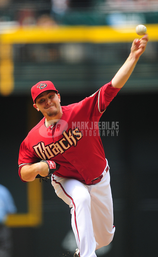 Apr. 8, 2012; Phoenix, AZ, USA; Arizona Diamondbacks pitcher Wade Miley in the fifth inning against the San Francisco Giants at Chase Field. Mandatory Credit: Mark J. Rebilas-