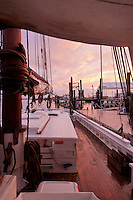 Historic Tall Ship, A.J. Meerwald, tied to the dock at sunset, Bivalve, New Jersey
