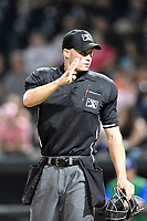 Umpire Dillon Wilson works a game between the Lexington Legends and Columbia Fireflies on Thursday, June 8, 2017, at Spirit Communications Park in Columbia, South Carolina. Columbia won, 8-0. (Tom Priddy/Four Seam Images)
